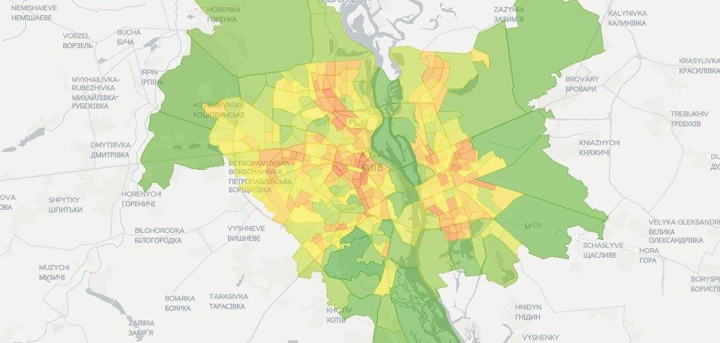 Какой район Киева самый «зеленый» (карта)