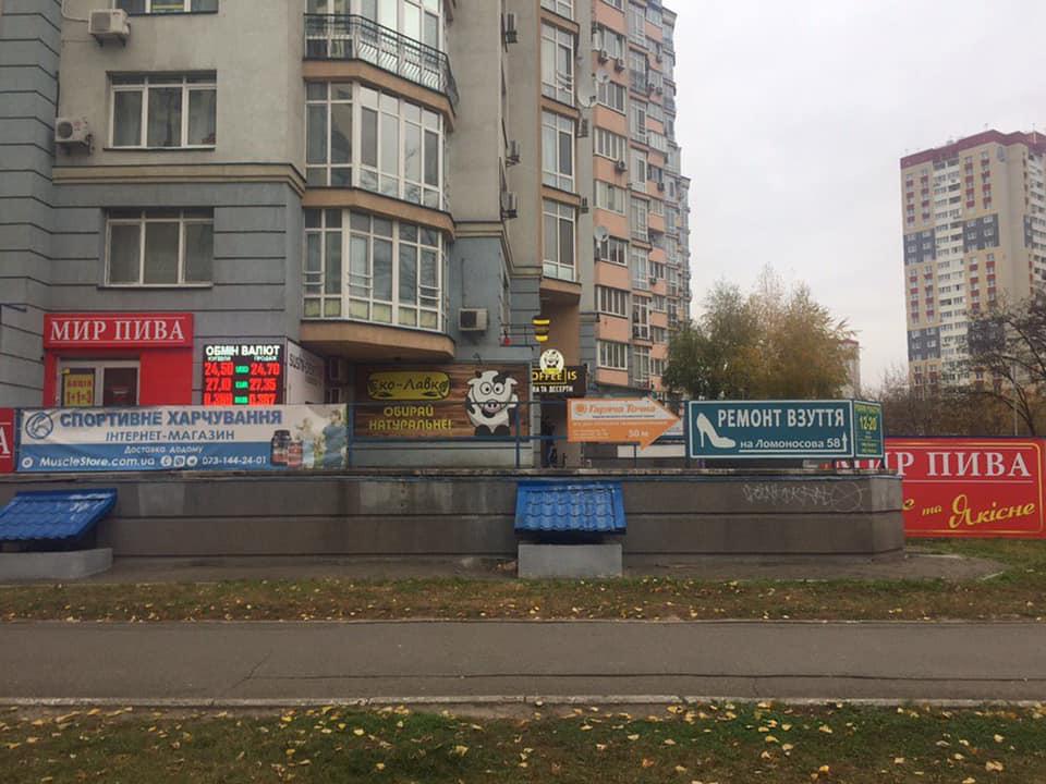 На Теремках нашли здание с сотней незаконных вывесок